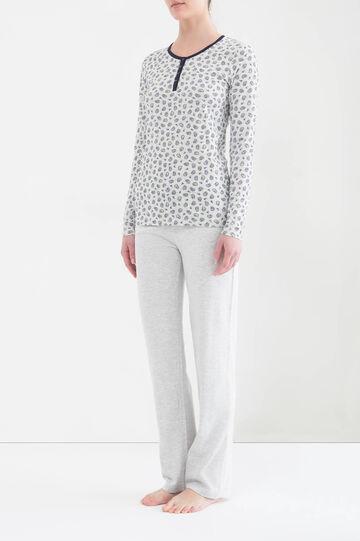 Cotton pyjamas with paisley print, Light Grey Marl, hi-res