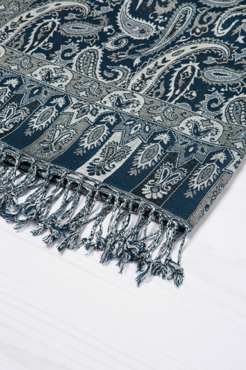 Jacquard scarf in 100% viscose., White/Blue, hi-res