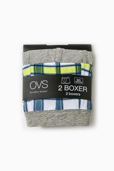 Set due boxer cotone unito e a quadri, Bianco/Grigio, hi-res