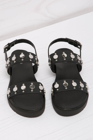 Leather look sandals with studs, Black, hi-res