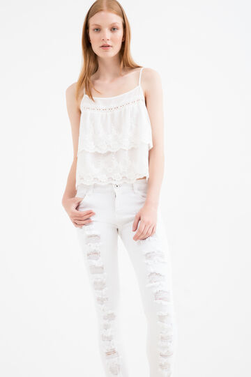 Cotton blend top with flounces and embroidery, White, hi-res