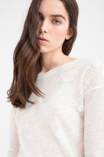 T-shirt misto viscosa tinta unita, Bianco latte, hi-res
