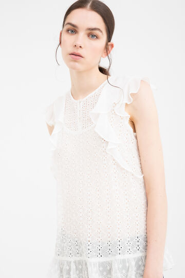 100% viscose blouse with flounces, White, hi-res