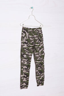 Cotton joggers with camouflage details, Brown, hi-res
