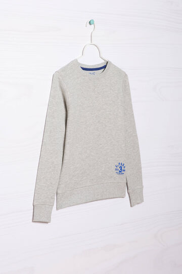 Plain 100% cotton sweatshirt, Grey Marl, hi-res
