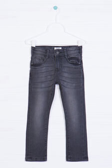 Worn-effect stretch jeans, Dark Grey, hi-res