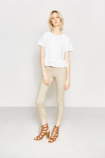 High-waisted trousers in stretch cotton