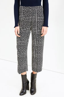 High-waisted, printed cropped trousers, Black/White, hi-res