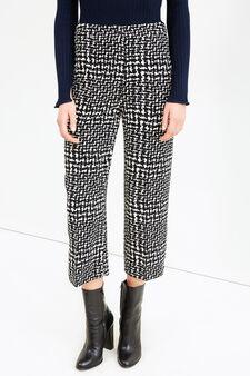Pantaloni crop a vita alta stampati, Nero/Bianco, hi-res