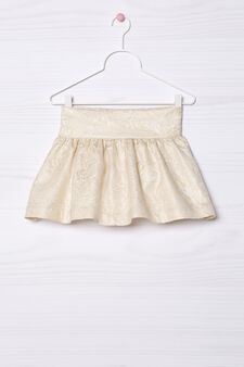 Printed pleated skirt., Milky White, hi-res