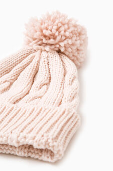 Beanie cap with turn-up, Pink, hi-res