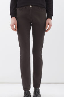 Plain stretch cotton trousers, Dark Grey, hi-res