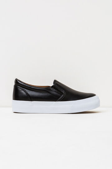 Slip-ons with rubber sole., Black, hi-res