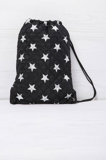 Quilted bag with star pattern., Black, hi-res