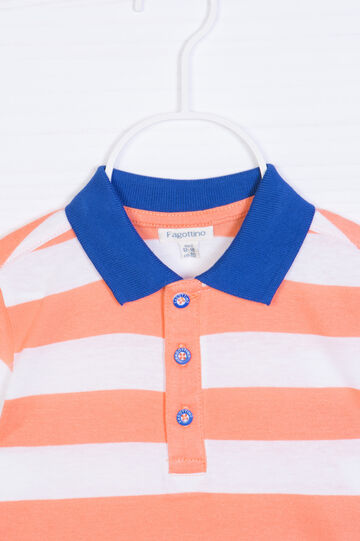 Patterned polo shirt in 100% cotton, Blue/Orange, hi-res