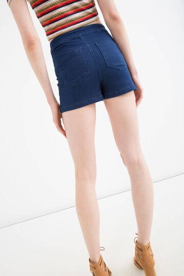 High-waist stretch denim shorts, Blue, hi-res