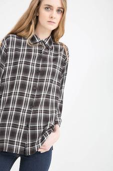 100% viscose checked shirt, White/Black, hi-res