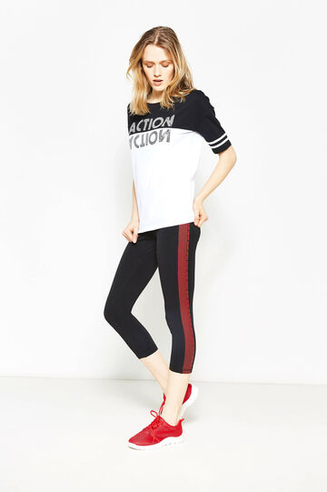 Crop leggings with contrasting bands, Black/Red, hi-res
