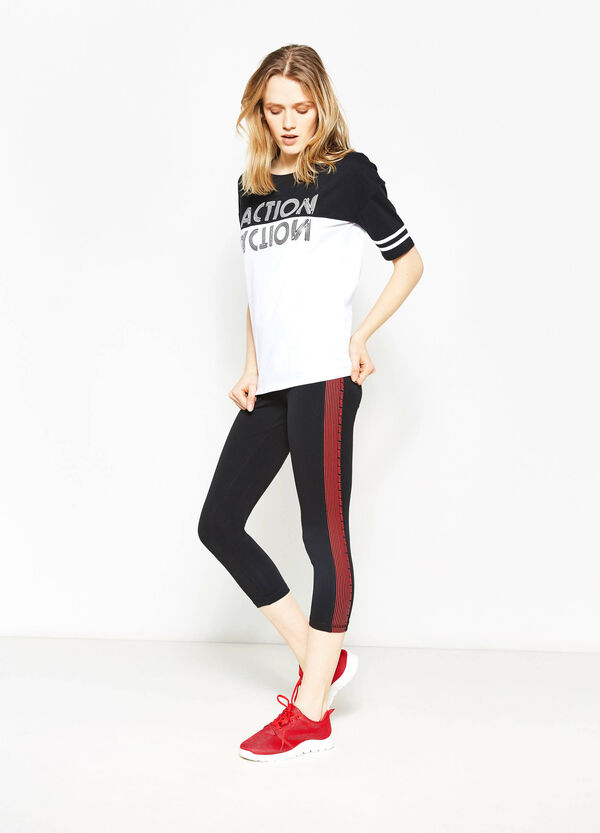 Crop leggings with contrasting bands | OVS