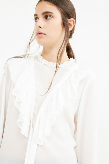 Solid colour blouse with flounces, White, hi-res