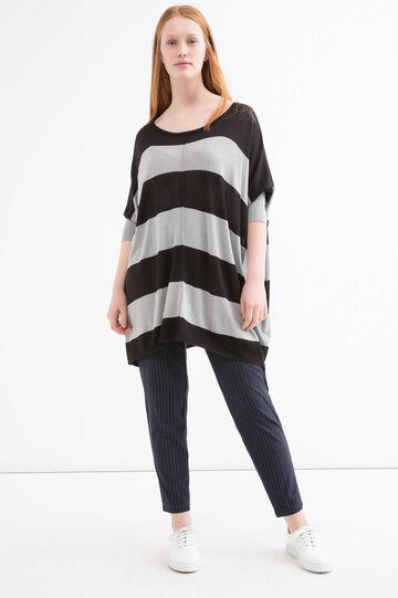 Curvy striped pattern pullover, Black, hi-res