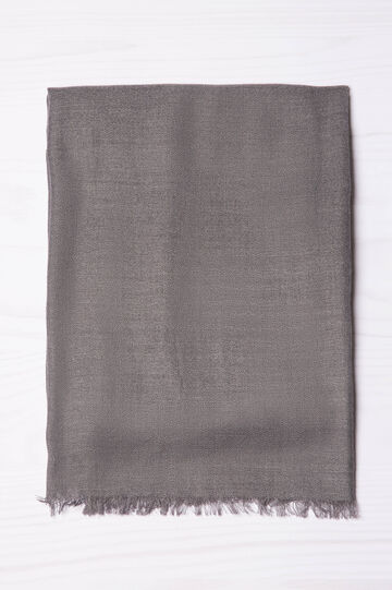 Viscose blend scarf with fringing, Grey, hi-res