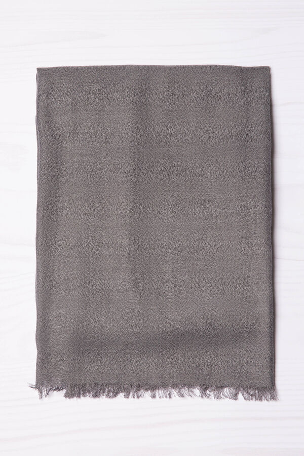 Viscose blend scarf with fringing | OVS