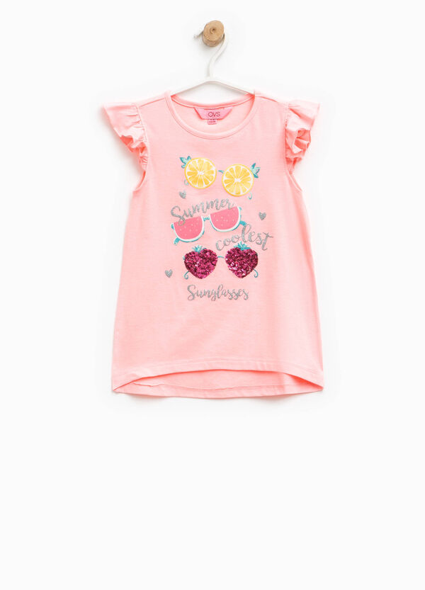 Stretch cotton top with flounces | OVS