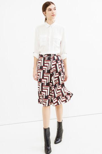Falda midi con estampado y cremallera lateral, Blanco nata, hi-res