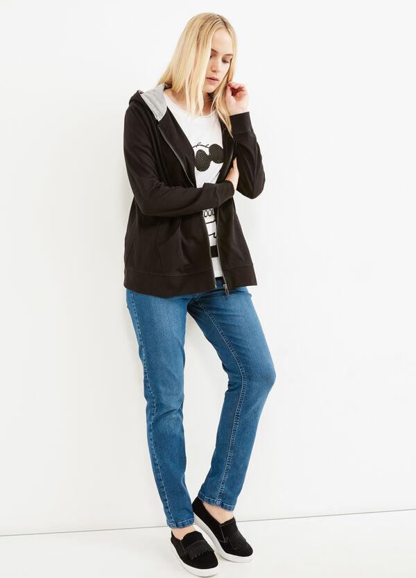 Curvy stretch cotton hoodie | OVS