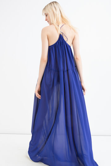 Solid colour long dress, Blue, hi-res