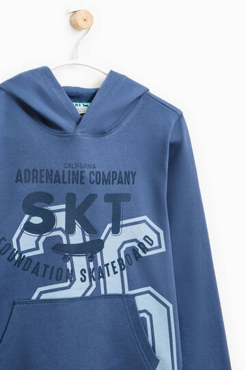 Sweatshirt with hood and printed lettering, Blue, hi-res