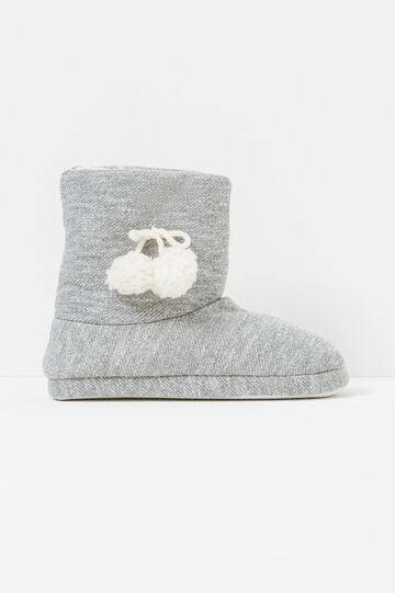 Slipper boots with pompoms, Grey, hi-res