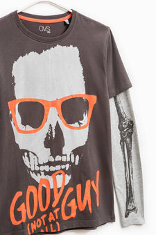 T-shirt puro cotone stampata, Grigio antracite, hi-res