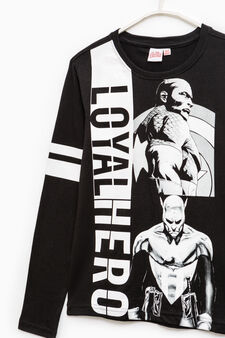 T-shirt with maxi Captain America print, Black, hi-res