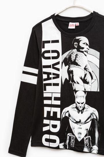 T-shirt maxi stampa Captain America, Nero, hi-res