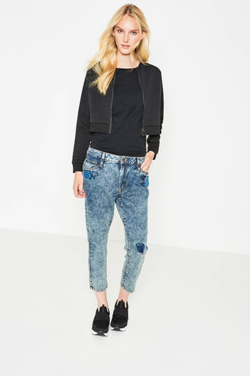 Boyfriend-fit crop jeans with patches, Light Wash, hi-res