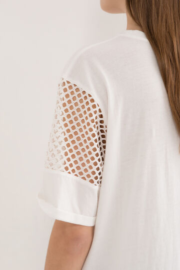 T-shirt with openwork sleeves, White, hi-res