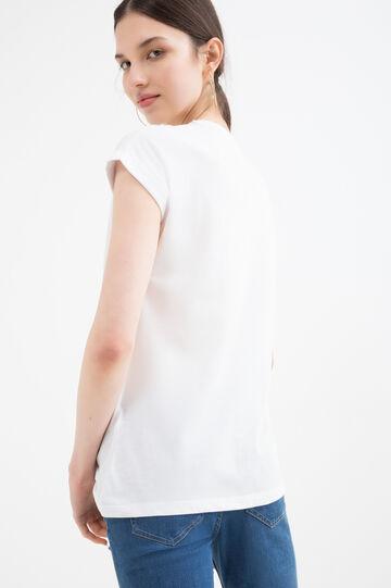 T-shirt stampata in misto cotone, Arancione, hi-res