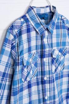 Camicia puro cotone tartan, Bianco/Blu, hi-res