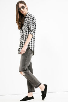 Used-effect ripped girlfriend jeans, Black, hi-res