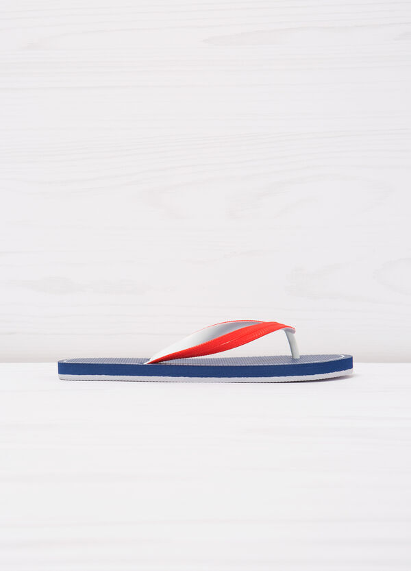 Thong sandals with contrasting colour band. | OVS