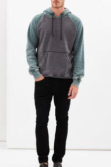 Worn-effect hoodie, Green/Grey, hi-res