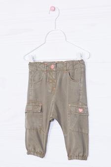 Pantaloni tinta unita con tasconi, Verde militare, hi-res