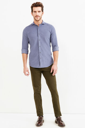 Slim-fit velvet Rumford shirt, Grey, hi-res