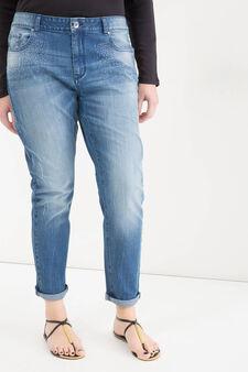 Curvy stretch diamanté jeans, Denim, hi-res