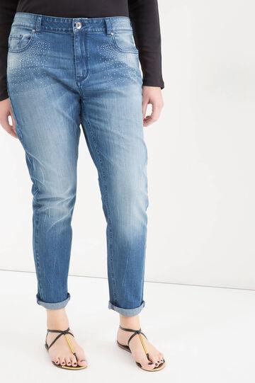 Jeans stretch con strass Curvy, Denim, hi-res