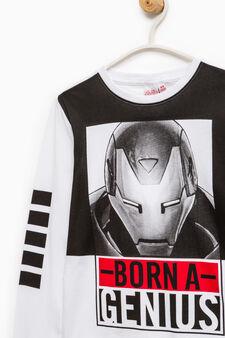 100% cotton T-shirt with Iron Man print, White, hi-res