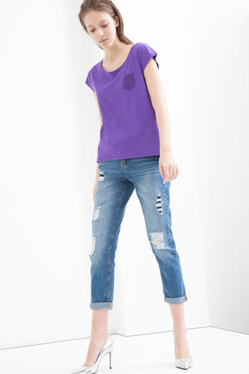 Cotton and viscose blend T-shirt, Purple, hi-res