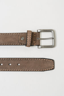 Real leather belt with square buckle, Beige, hi-res